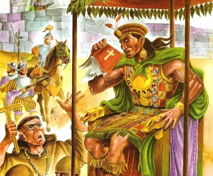 Atahualpa arroja la biblia