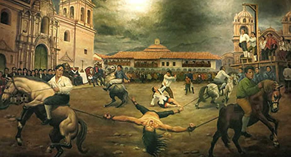 desmembramiento de Tupac Amaru II en la Plaza de Armas de Cusco